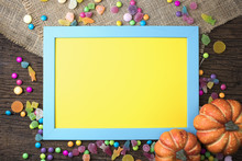 Wood Blue And Yellow Frame Wit...