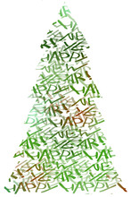Christmas Tree Made Of Handwritten Congratulatios With New Year