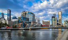 Melbourne Skyline On A Cloudy Blue Sky Autumn Day