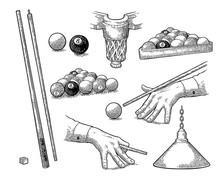 Set Billiard. Stick, Balls, Ch...