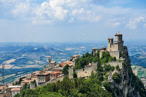 Fotografie, Obraz  Guaita tower of San Marino with panoramic landscape