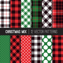 Xmas Green, Red, Black And White Polka Dots, Gingham And Tartan Plaid Seamless Vector Patterns. Set Of Christmas Backgrounds. Trendy Hipster Flannel Shirt Checks.  Pattern Tile Swatches Included