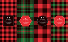 Christmas Lumberjack Seamless Patterns With Labels. Green Red Black Buffalo Check & Tartan Plaid. Trendy Hipster Textures & Badges. Text Copy Space. Design Templates For Packaging, Covers, Gift Wrap