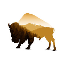 Silhouette Of Bison With Autumn Mountain Panorama.