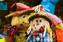 Close Up Of Smiling Halloween Autumn Harvest Scarecrow