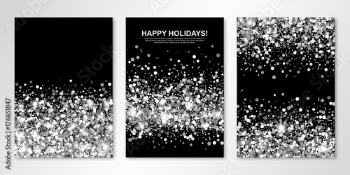 Fotografía  Banners set with silver confetti on black