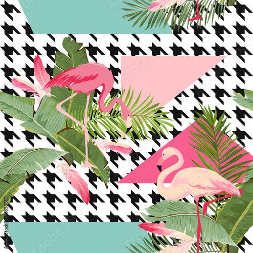 bezszwowe-tropikalne-kwiaty-i-flamingo-lato-geometryczny-wzor-tlo-graficzne-egzotyczne-tapety-kwiatowe-lub-karty-nowoczesna-strona-przednia