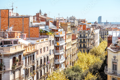 Foto auf AluDibond Barcelona Top view on residential buildings on the street in Barcelona city