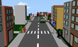 Stadtteil mit Fußgängern, Autos, Häusern und Verkehrszeichen