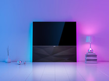 Modern Luxury Smart Tv Mockup On Stand In White Living Room With Ambient Light, Evening Atmosphere. 3d Rendering