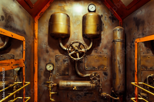 The room in vintage steampunk style Canvas