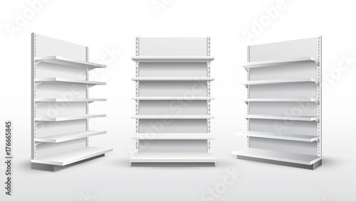 Vászonkép Set of white empty store shelves