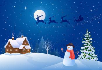 Christmas night snowman