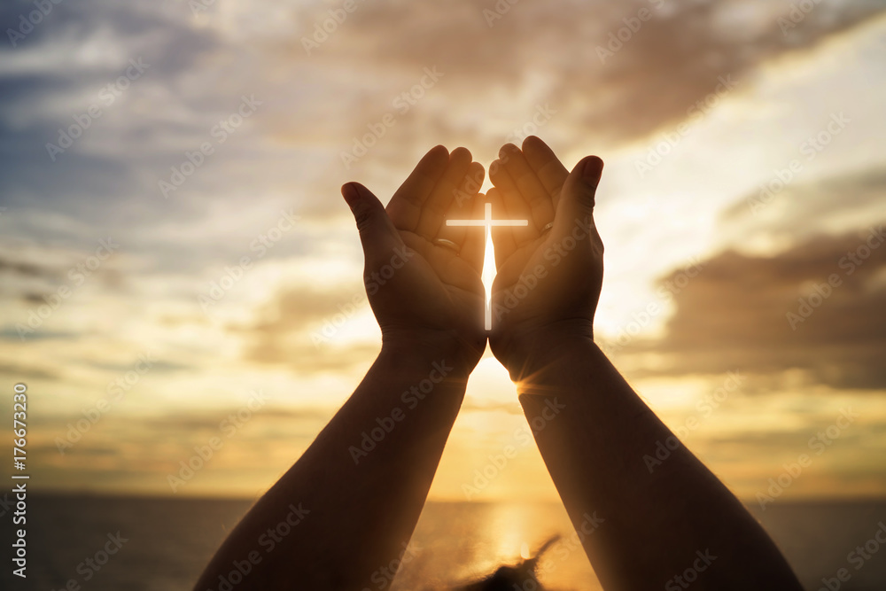 Fototapety, obrazy: Human hands open palm up worship. Eucharist Therapy Bless God Helping Repent Catholic Easter Lent Mind Pray. Christian concept background.