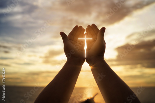 Photo sur Toile Lieu de culte Human hands open palm up worship. Eucharist Therapy Bless God Helping Repent Catholic Easter Lent Mind Pray. Christian concept background.