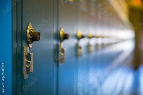 Obraz na plátne Row of blue school lockers