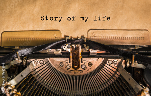 Story of my life typed words on a old Vintage Typewriter Wallpaper Mural