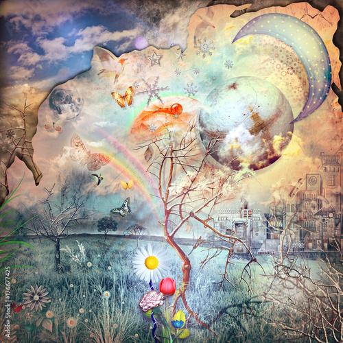 Poster de jardin Imagination Il regno segreto,paesaggio fiabesco e incantato con fiori fantastici