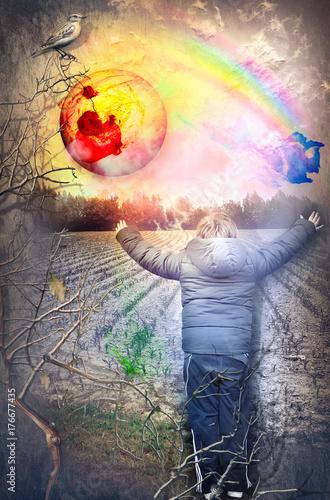 Poster Imagination Futuro. Bambino felice che saluta l'alba