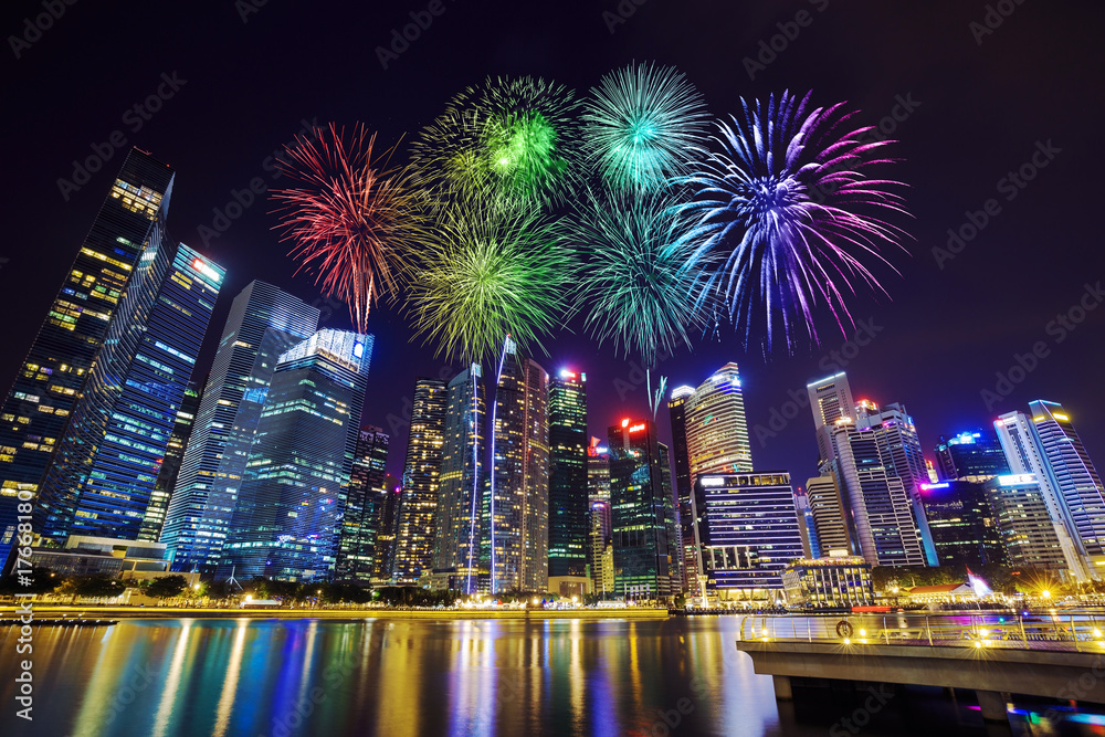 Photo & Art Print firework over central business district building ...