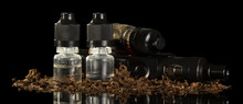 Electronic Cigarette And Liquid With Nicotine Isolated On Black Background