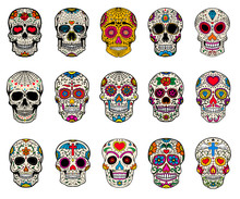 Set Of Sugar Skulls Illustrati...