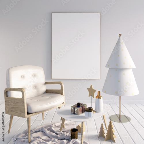 Fototapeta Nowoczesne świąteczne wnętrze, styl skandynawski. 3D ilustracji. plakat makiety