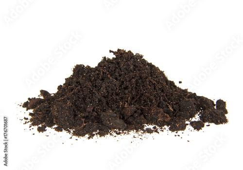 Fotografie, Obraz  Pile heap of soil humus isolated on white background