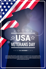 Veterans Day Celebration National American Holiday Banner With Soldier Silhouette Over Usa Flag Background Vector Illustration