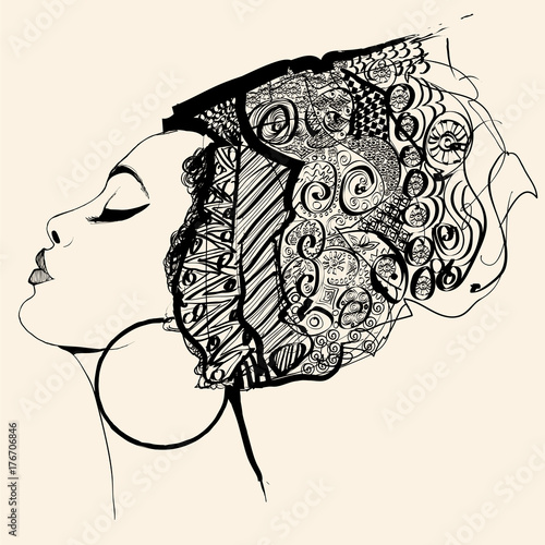 Tuinposter Art Studio Portrait of cute african woman with hat (profile)