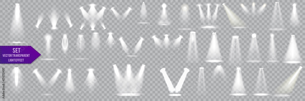 Fototapety, obrazy: Big collection scene illumination on transparent background. stage illuminated spotlight. Vector illustration.