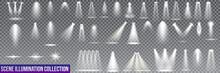 Big Collection Scene Illumination On Transparent Background. Stage Illuminated Spotlight. Vector Illustration.