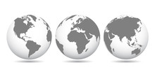 Gray Globes With Continents - Stock Vector