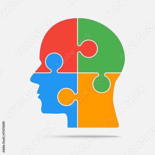Obraz na płótnie Multi Color Puzzle Piece Head - Vector Jigsaw