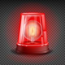 Red Flasher Siren Vector. Real...