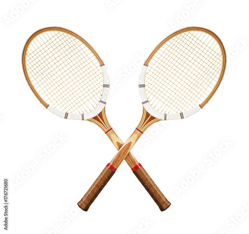 Tennis rackets on white