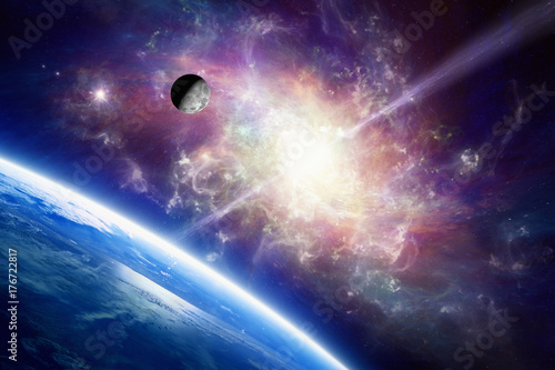 Tuinposter Heelal Planet Earth in space, Moon orbits around Earth, spiral galaxy