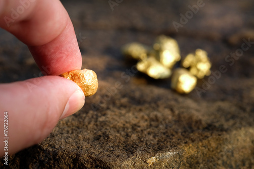 The pure gold ore found in the mine is in the hands of men Tapéta, Fotótapéta