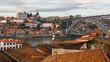 Roofs Vila Nova de Gaia, the Douro river, Ribeira and Dom Luis I bridge, Porto, Portugal.