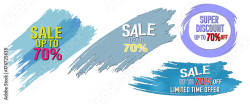 Keuken foto achterwand collection sale 70% off sign over watercolor brush art paint abstract texture background. Perfect design for sale shop and sale banners.vector illustration