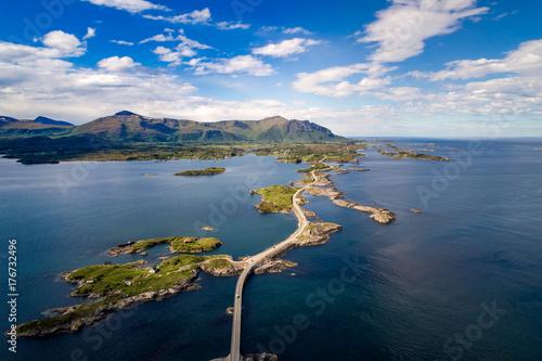 Fotografia  Atlantic Ocean Road aerial photography.