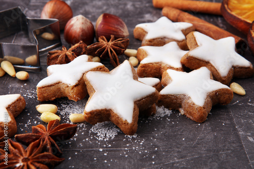 Baking christmas cookies. Typical cinnamon stars bakery