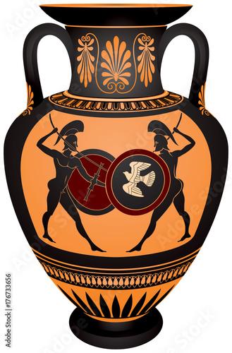 Amphora With The Ancient Greece Warriors Battle Scene Black Figure