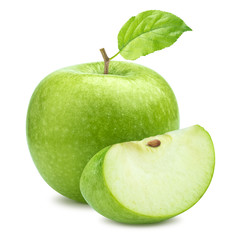 One green apple and quarter piece isolated on white background