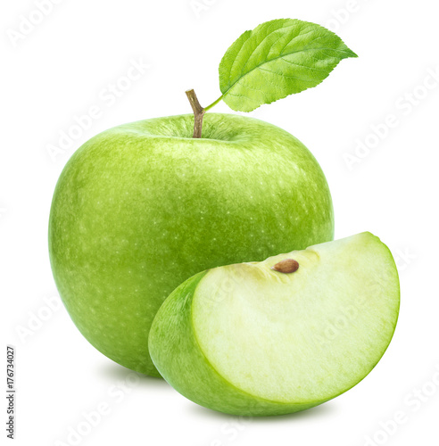 Fototapeta Jabłko  one-green-apple-and-quarter-piece-isolated-on-white-background