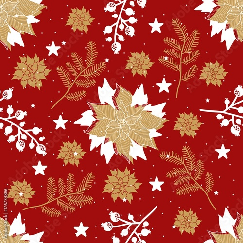 Cotton fabric Seamless pattern with Christmas elements. Vector illustration.