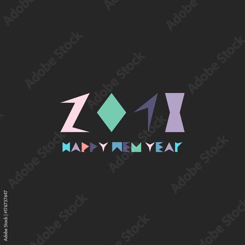 creative happy new year card memphis minimalistic design