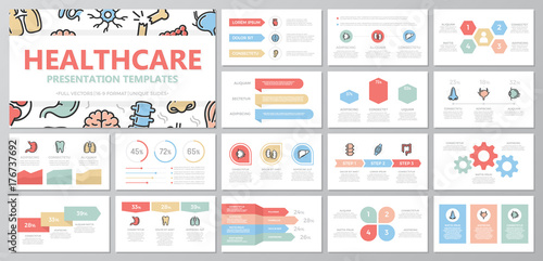 Valokuva  Set of medical and healthcare elements for multipurpose presentation template slides with graphs and charts