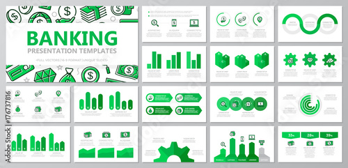 Fotografie, Obraz  Set of bank and money elements for multipurpose presentation template slides with graphs and charts