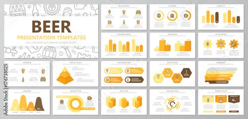 Obraz na plátně  Set of beer and bar, pub elements for multipurpose presentation template slides with graphs and charts